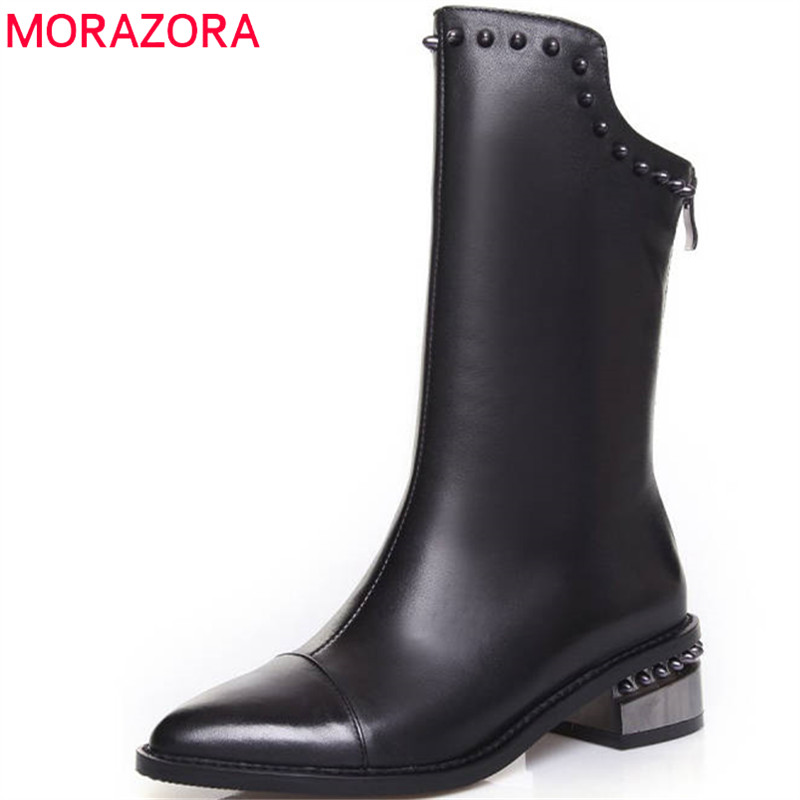MORAZORA 2018 new arrive pointed toe boots women genuine leather short plush autumn winter ankle boots rivet fashion shoes woman women genuine leather spring autumn ankle boots short plush inside for winter short boots fashion round toe boots 6