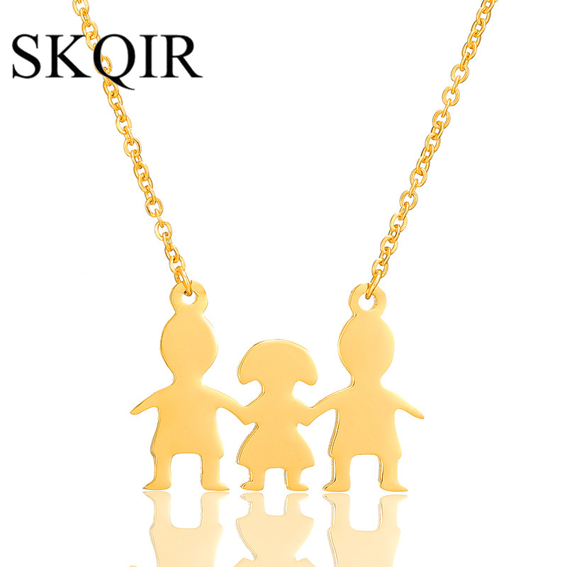 SKQIR 3 Color Simple Family Pendant Necklace Stainless Steel Father Mother Daughter Love Family Gold Necklaces Women Man Gift