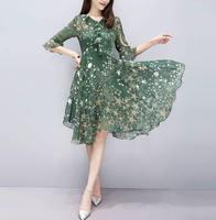Le donne Boho Estate Vestito Floreale Stella stampa Chiffon abito Scollo A V Tunica Volant Vita Alta Vestito Da Partito Vestidos