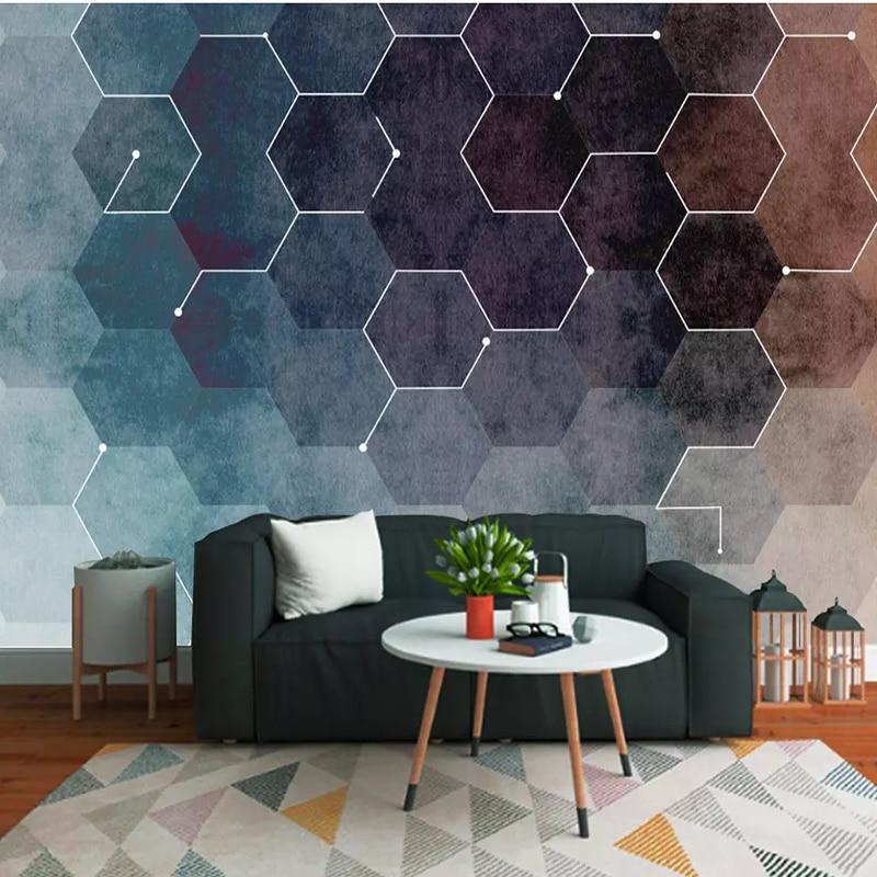 Streng 3d Behang Moderne Verse Abstracte Geometrische Figuren Muurschilderingen Voor Woonkamer Tv Sofa Achtergrond Muur Doek Classic Home Decor Firm In Structuur