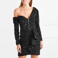 Новое тяжелое платье с вышивкой бисером на плечах вечерние для вечеринки в Европе и Америке J812304