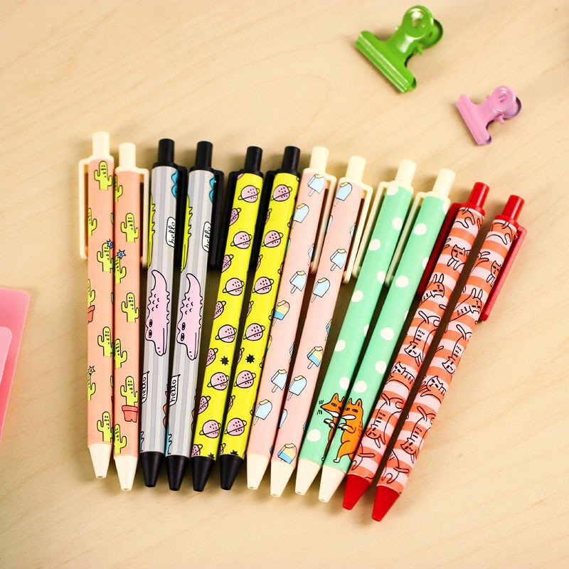 4X Sweet Animals Ice Cream Fox Plants Press Chucky Gel Pen Writing Signing Pen School Office Supply Kids Student Stationery
