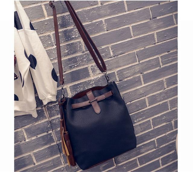 New Summer Fashion Trending Women Handbags PU Leather Crossbody Bag Bucket  Lady Vintage Tassel Shoulder Bags Girls Messenger Bag eb8dc65afdeb1