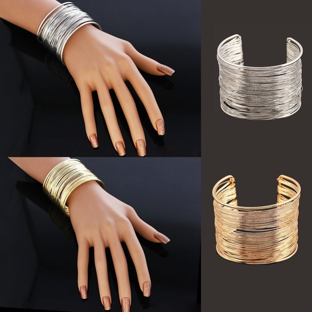 Vintage Women Jewelry Fashion Gold silver Bangle Cuff Bracelet Punk Lots  Style For party c364765253