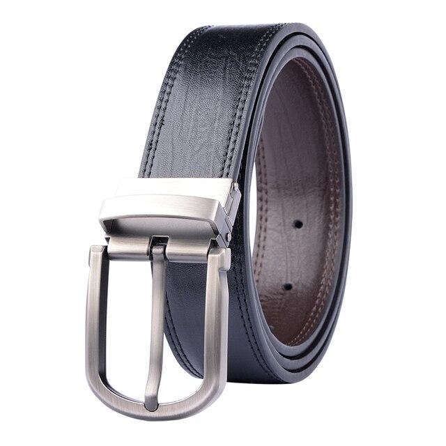 De cuero genuino de los hombres Cinturón Reversible para Vaqueros Hombre girar hebilla vestido de diseñador de cuero de vaca cuero cinturones para hombres negro