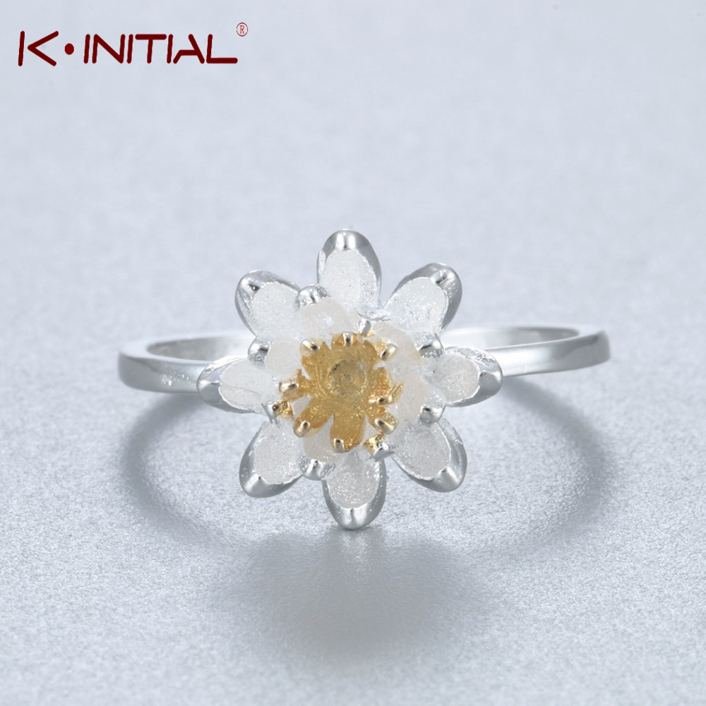 Kinitial cute silver plated chrysanthemum flowers ring for women kinitial cute silver plated chrysanthemum flowers ring for women adjustable daisy flower wedding ring engagement jewelry in rings from jewelry accessories izmirmasajfo