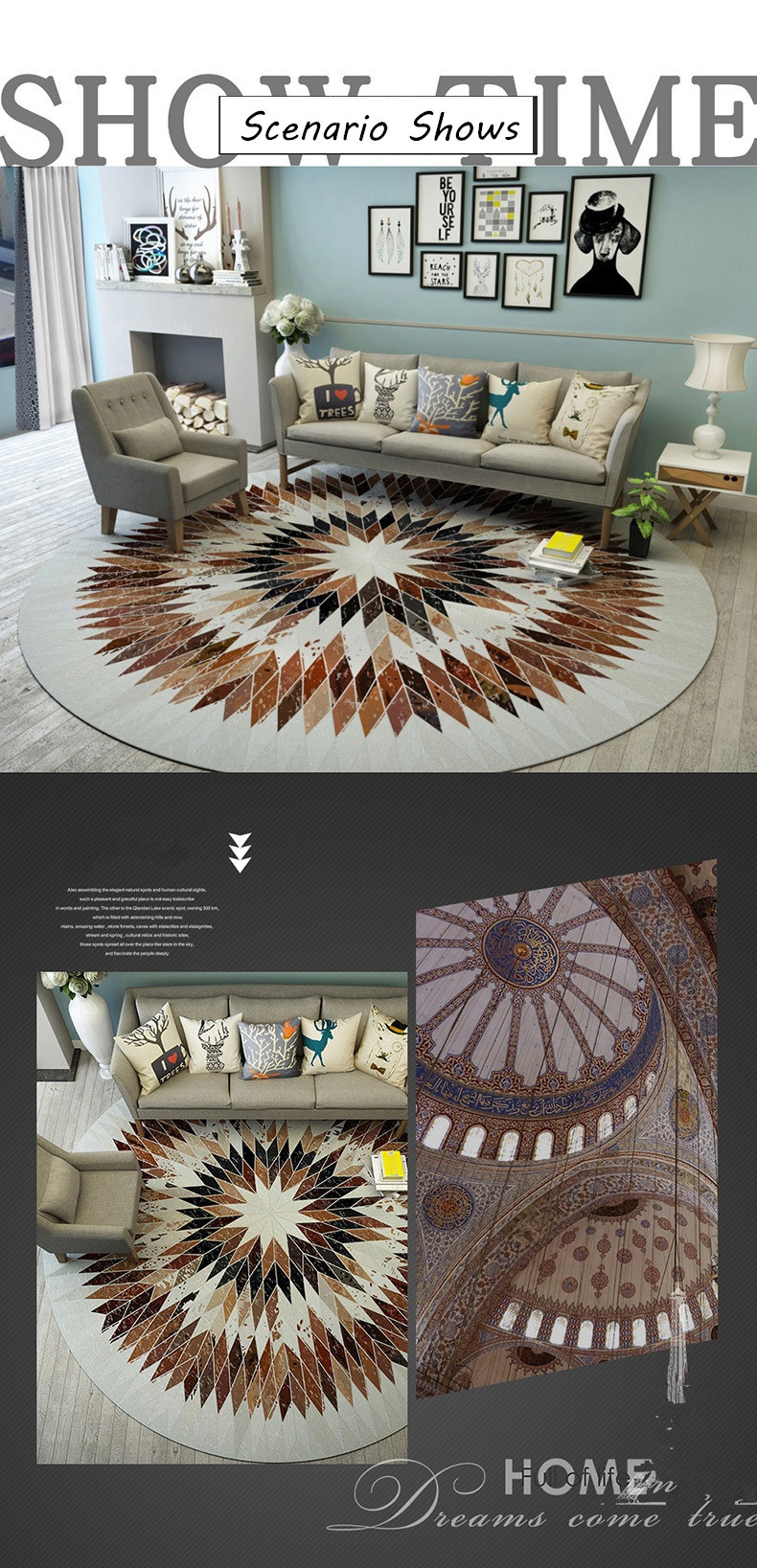 Nordic Wild Round Carpet Computer Chair Round Rug Sofa Coffee Table Floor Mat Modern Rugs And Carpets For Home Living Room