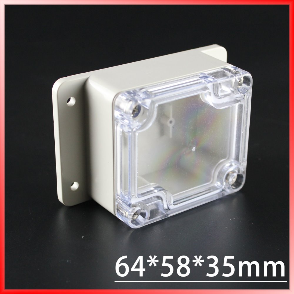 (1 piece/lot) 64*58*35mm Clear ABS Plastic IP65 Waterproof Enclosure PVC Junction Box Electronic Project Instrument Case waterproof abs plastic electronic box white case 6 size