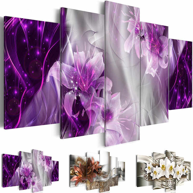 Home Decor Prints Canvas Poster Frame 5 Pieces Abstract Lily Flowers Painting Wall Art Pictures Living Room Exquisite Background