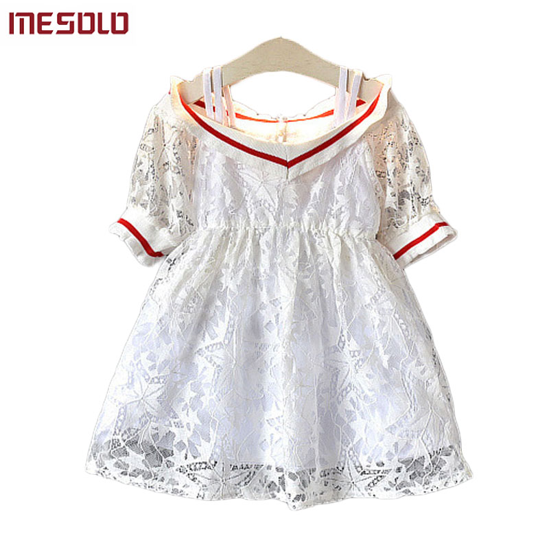 MESOLO2018 Childrens Summer New Strap Word Collar Lace Dress Fashion Girls Princess Dress 3-7 Years Old Children Clothes