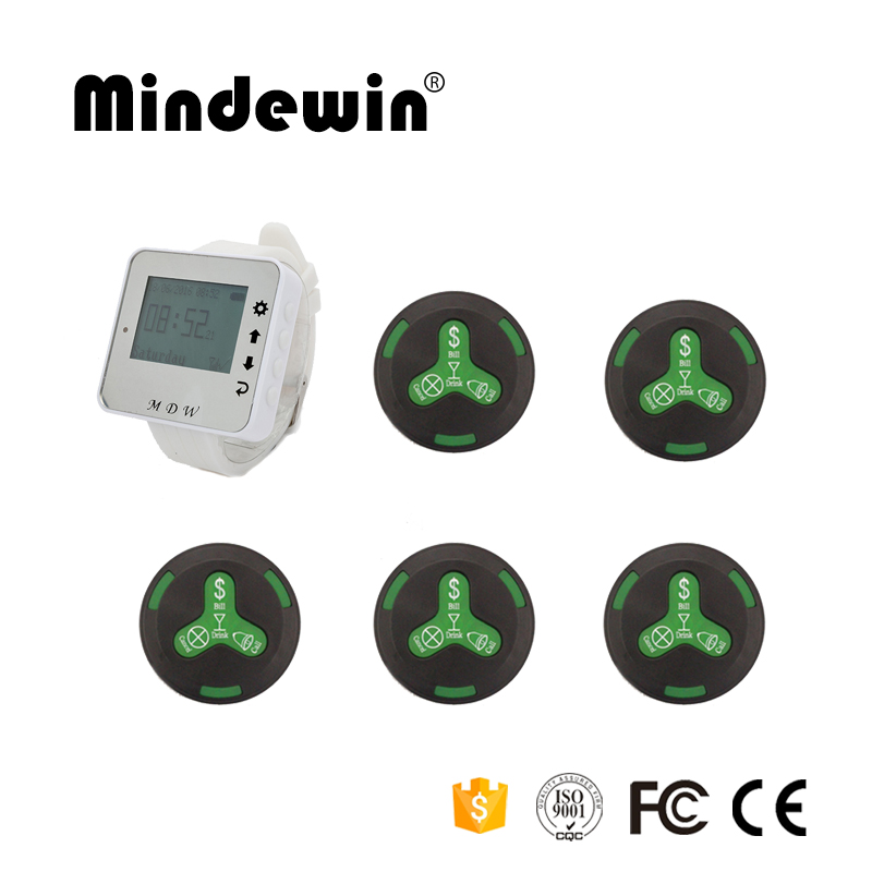 Mindewin 433MHz Restaurant Wireless Calling Paging System 1pc Wrist Watch Receiver Host +5pcs Black Call Transmitter Button 10pcs 433mhz restaurant pager call transmitter button call pager wireless calling system restaurant equipment f3291