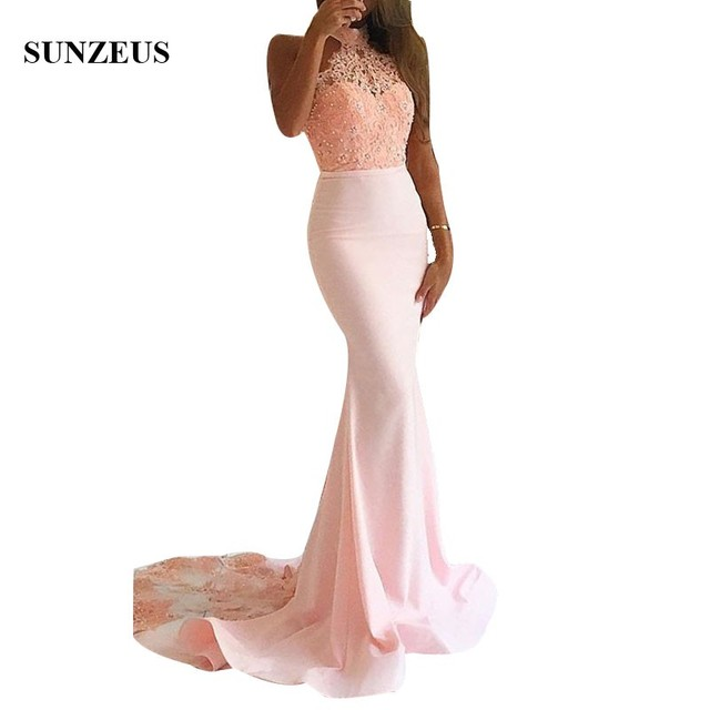 abiti da cerimonia donna Long Pink Bridesmaids Gowns High Neck Mermaid Party Gowns Beaded Appliques Wedding Guest Gown Wear