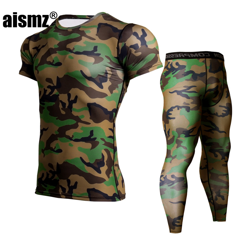 AISMZ MMA Muscle Men Tracksuit Complete Graphic Compression Set Men Multi-use Fitness Tights Short Sleeve Shirt Legging Gyms