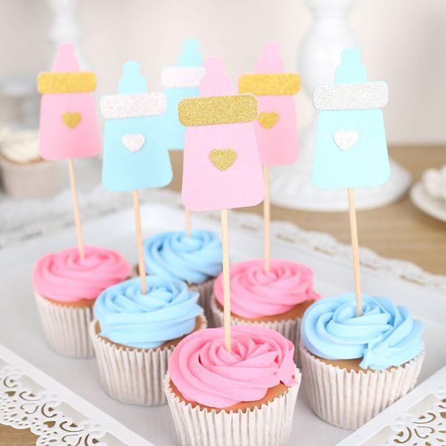 6 Pcs Lot Bottle Cupcake Topper Baby Shower Its A Boy Girl
