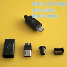 10PCS/LOT YT2153  Micro USB 5Pin Male connector  plug Black/White welding  Data OTG line interface  DIY data cable accessories