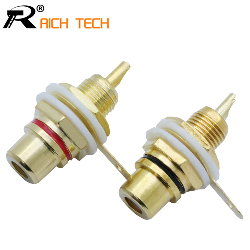 1pair RCA Connector Welding Gold Plated RCA Jack Connector Panel Mount Chassis Audio Socket Plug Bulkhead With NUT Solder CUP