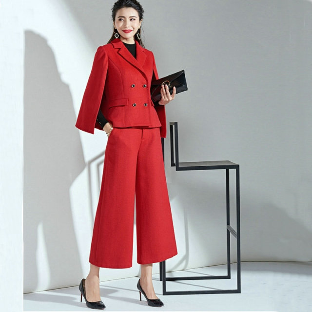 Winter Red Cape Wool Suit Women New Ladys Autumn Nine Wide Leg Pants Red Fashion Temperament Two-piece Set