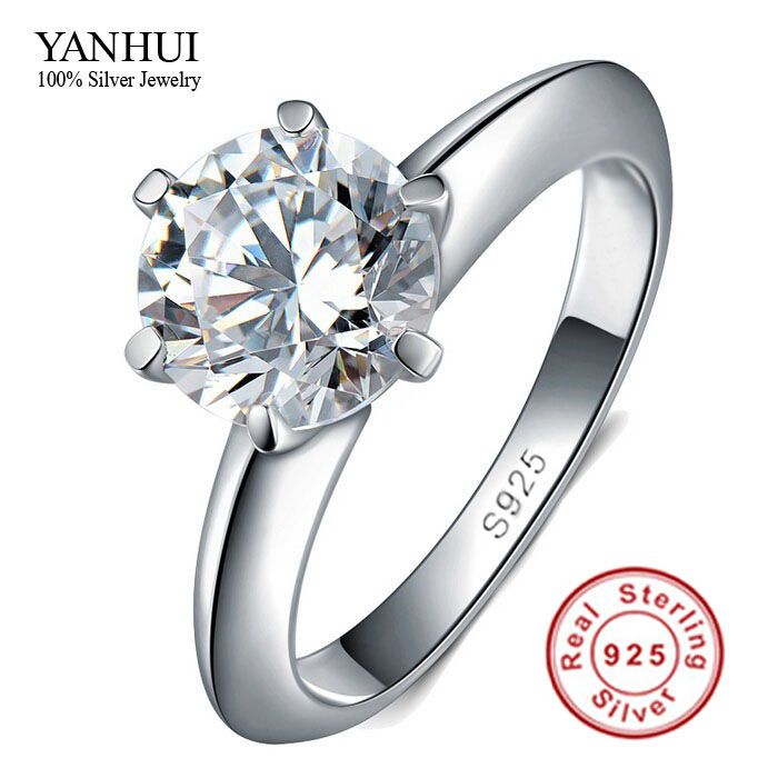 big promotion 100 solid silver ring set 1 carat sona cz diamant engagement ring real - Cheap Real Diamond Wedding Rings