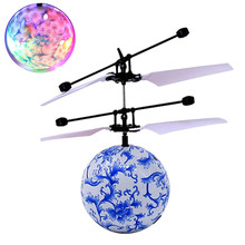 Blue RC Flying Ball Drone Helicopter Ball Built-in Shinning LED Lighting for Kids Teenagers Remote Control Flight Toys For Boy