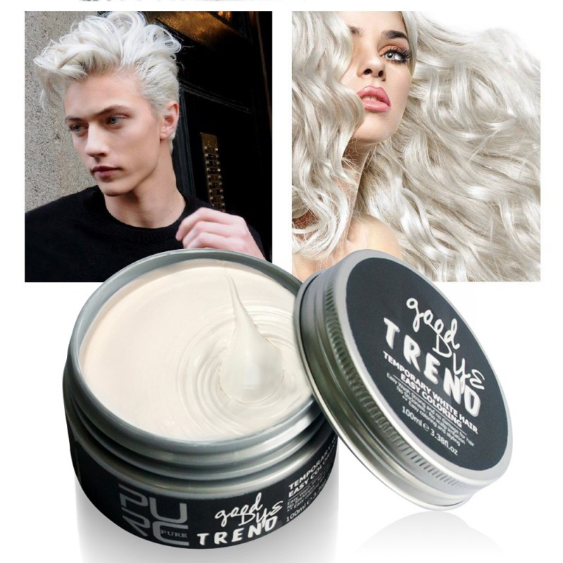 RURC Color Hair Dye Disposable Hair Wax White Purple Red Blue Grey Green Golden Hair Color Hair Dye Temporary