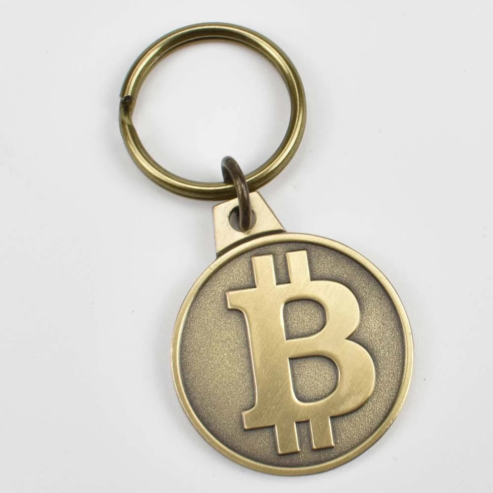 2 colors Antique brass and Gold Plated 25mm Bitcoin Coin Keychain Bit coin Cryptocurrency Gift