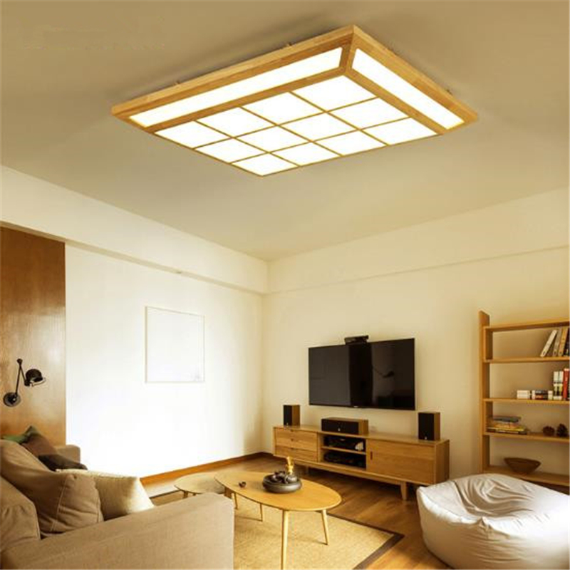 Nordic LED Wood Cube Living Room Ceiling Lamp Square Lattice Japanese Style Solid Wood Lighting For Bedroom Decor Free Shipping japanese indoor lighting led ceiling light lamp square 45 55cm tatami decor led lamp wood paper restaurant living room hallway