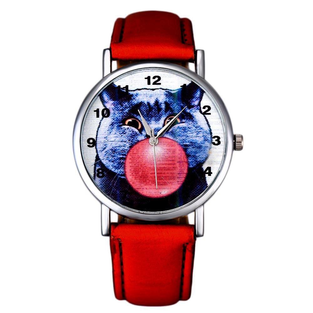 Lovesky 2016 Hot Sale Cat Pattern Women Fashion Leather Band Analog Quartz Vogue Wrist Watch Watches Freeshipping & Wholesale стоимость