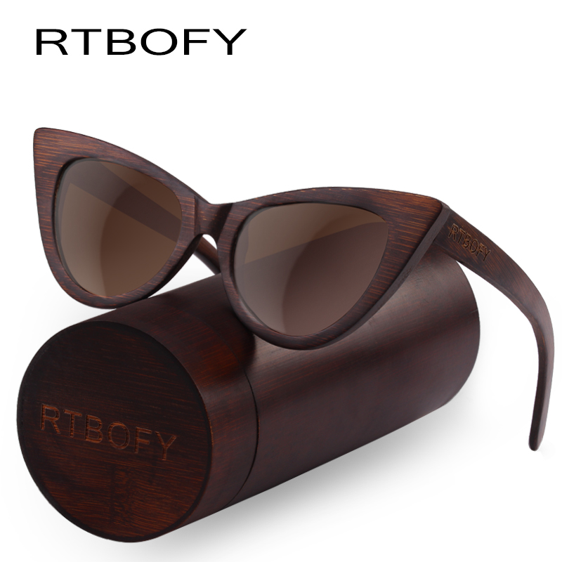 RTBOFY Wood Sunglasses Women Bamboo Frame Eyeglasses Polarized Lenses Glasses Vintage Design Shades UV400 Protection Eyewear2018
