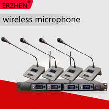 ERZHEN U4000V UHF 4 Handheld Wireless Microphone Dynamic Capsule Family Party Balanced+Unbalanced Output Wireless Microphone+KTV все цены