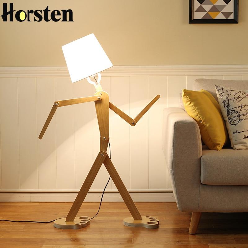 Horsten Creative DIY Wooden Floor Lamp Japanese Style 110-220V E27 Wood Fabric Standard Lamp For Living Room Bedroom Study Room