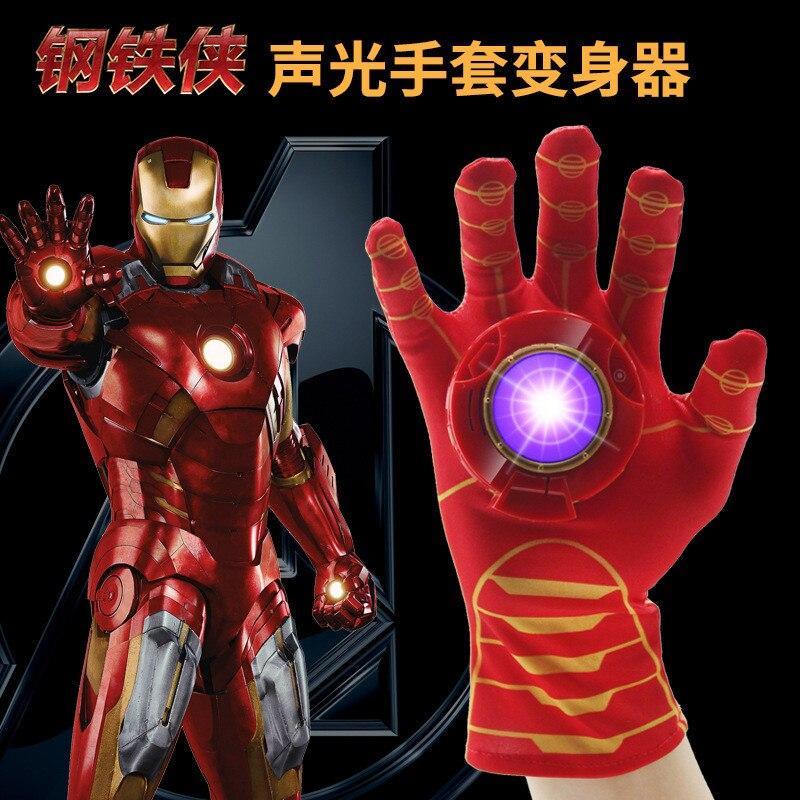 The Avengers Iron Man Glove Toy Action Figure Launchers Cartoon Interesting Iron Man Glove Emitter Flash Sound For Children Gift