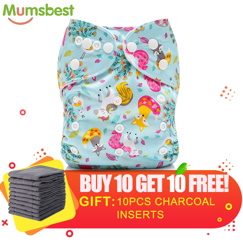 [Mumsbest] GET10PCS FREE Charcoal Insert Washable PocketCloth Diaper Adjustable Nappy Reusable Cloth Diapers Available 0-2years