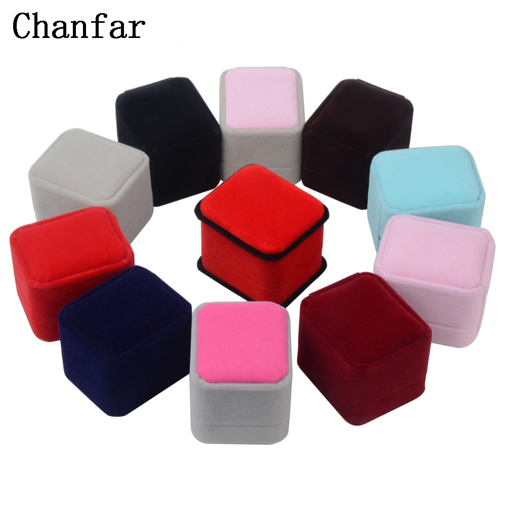 Chanfar Fashion 2pcs Velvet Earring Ring Box Red Blue Brown Grey Wedding Gift Box For Engagement Party Jewelry Case Hot Sale
