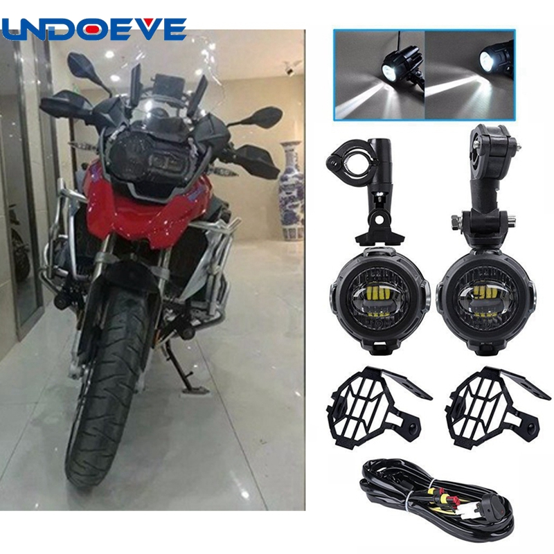 LED Auxiliary Lamp Super Bright 6000K Fog Driving Spot Lamp Lights Kits with Protect Guards Wiring Harness For Motorcycle BMW