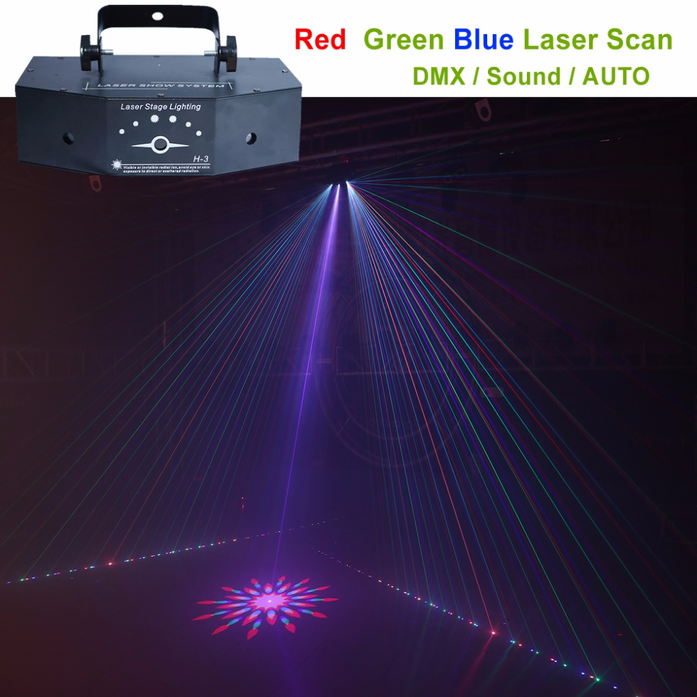 AUCD 3 Lens RGB Full Color Scanning Gobo Beam Laser Lamp Lights DMX Sound AUTO Projector DJ Party Home Show Stage Lighting H-3P 270mw full color laser lighting dmx sound auto dj disco club party stage light