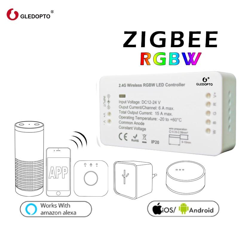 ZIGBEE RGBW controller led strip controller rgbcct/ww/cw/dimmer dc12-24v180W-360Wsmart app control work with ZigBee3.0 zll zigbee bridge led rgbw 5w gu10 spotlight color changing zigbee zll led bulb ac100 240v led app controller dimmable smart led