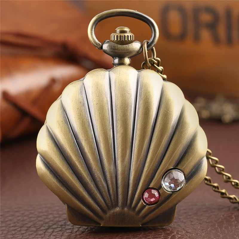 Mermaid Shell Pocket Watch Unique Glossy Metal Scallop Case Pendant Necklace Delicate Ladies Clock Beautiful Gifts for Girl XmasMermaid Shell Pocket Watch Unique Glossy Metal Scallop Case Pendant Necklace Delicate Ladies Clock Beautiful Gifts for Girl Xmas