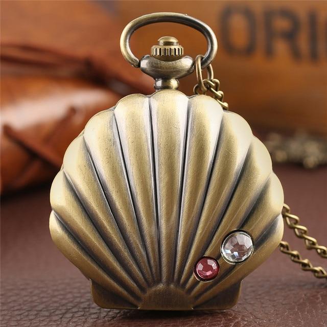 Mermaid Shell Pocket Watch Unique Glossy Metal Scallop Case Pendant Necklace Del