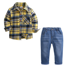 New Boys Gentleman Clothing Sets Spring Autumn Long Sleeve Cotton Plaid Shirt+Jeans 2Pcs Kids Boys Clothes Set Children Costume fashion new kids clothes sets spring autumn baby boys plaid t shirt jeans long sleeve leisure set cotton children clothing page 5