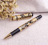 Jinhao 5000 Vintage Luxurious Metal Rollerball Pen Beautiful Dragon Texture Carving, Black & Golden Ink Pen for Office Business