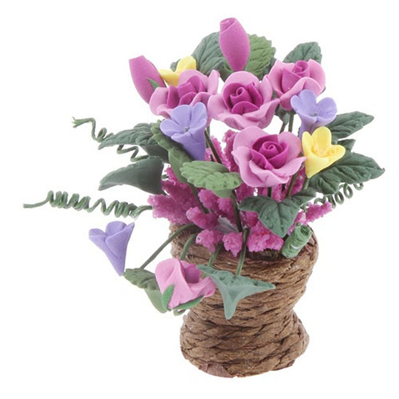 2018 Новый Кукольный миниатюрные цветы из глины в горшок из ротанга кашпо фея сад завод аксессуар 1:12 Масштаб