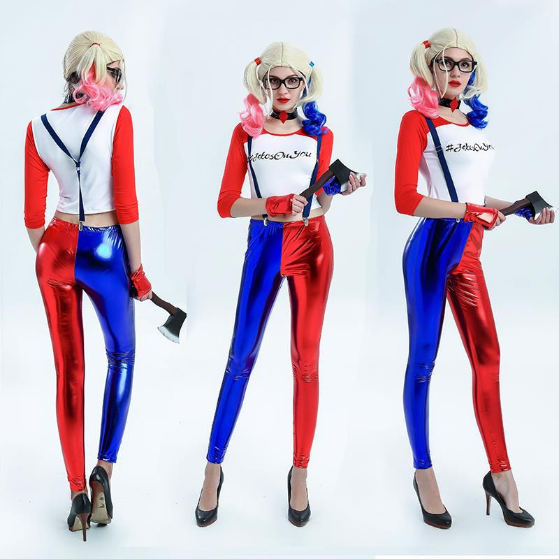 2017 New Suicide Squad Women Halloween Costume Harley Quinn Cosplay Costume Top+Necklace+Pants+Gloves+Wig De Batman Para Mujer