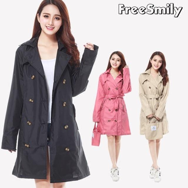 FreeSmily New Fashion Brand Fashion Big Size Women Thin Poncho Ladies Waterproof Long Slim Raincoat Adults Rain Coat With Belt