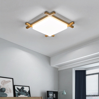 Modern Ceiling Lights Acrylic Shade Living Room Bedroom Square Ceiling Lamp Wood Kitchen Kids Plafondlamp Chinese Japanese Style