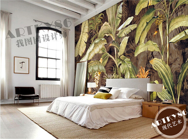 custom retro wallpaper, banana leaf painting for the living room