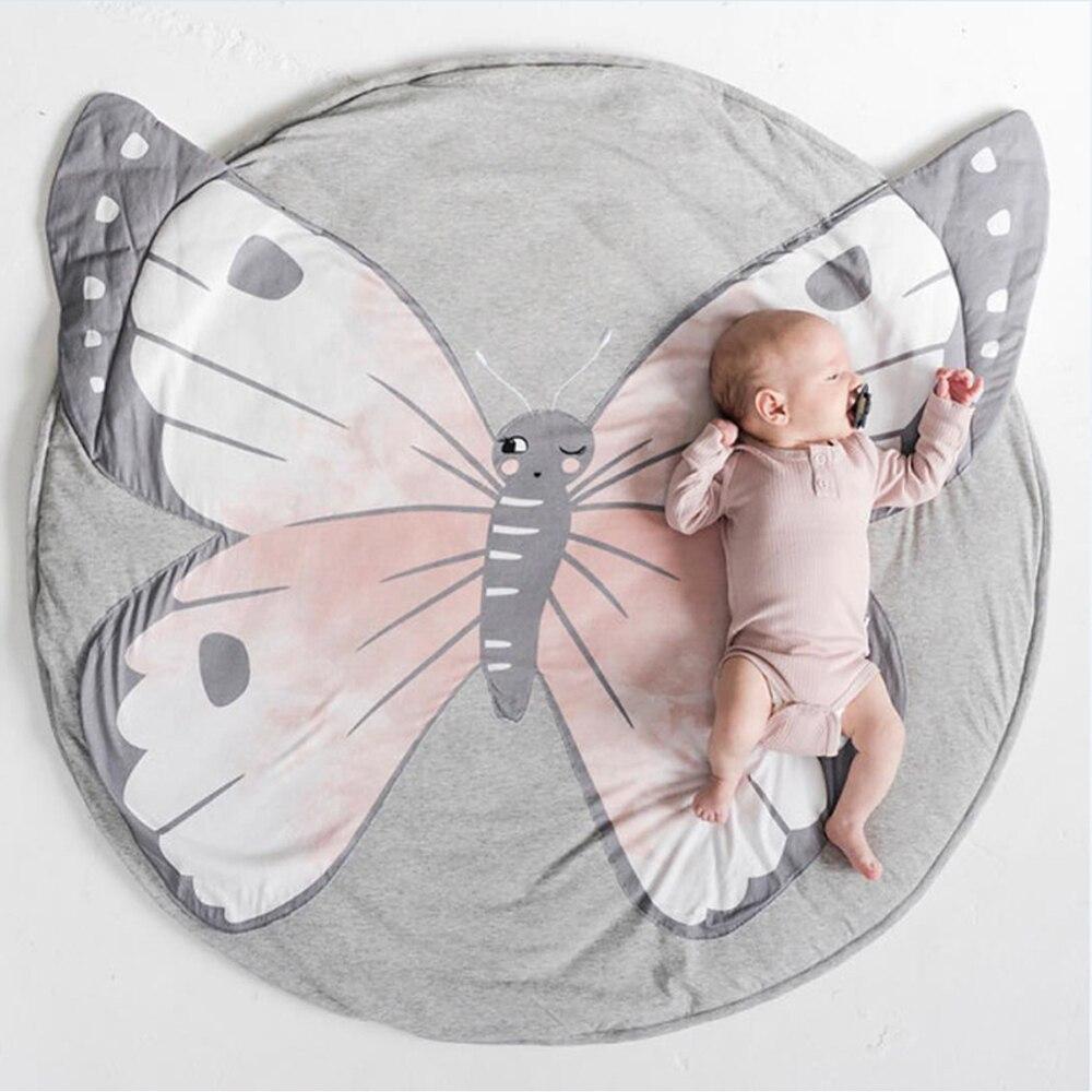 Baby Madchen Decke Kinder Baumwolle Kriechen Teppich Schmetterling