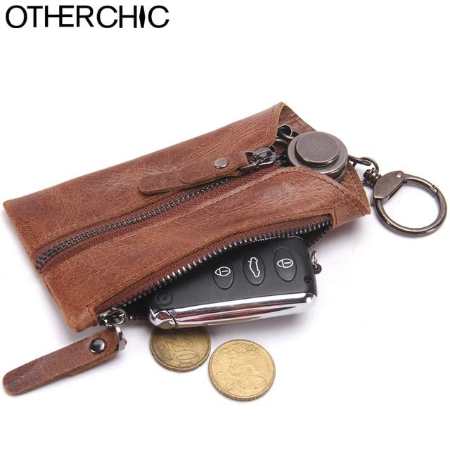 Genuine Leather Car Key Wallets Men Key Holder Card Housekeeper Keys Organizer Zipper Vintage Keychain Covers Key Case