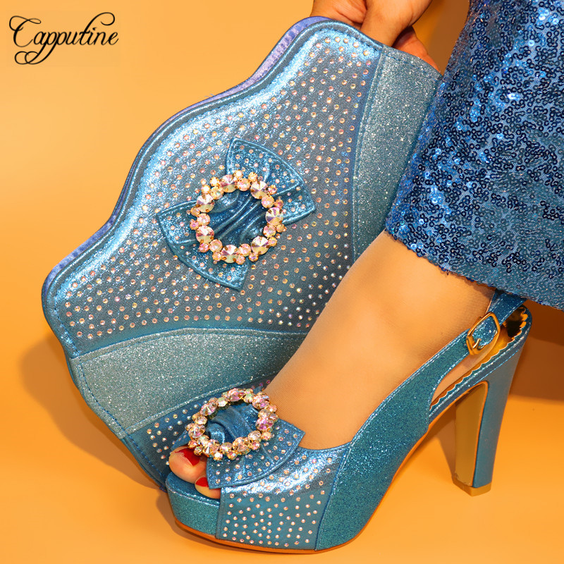 Capputine Latest Sky Blue African Women Shoes With Bags Set Italian Party Pumps 11CM Shoes And Bag Set Niegrian Party Shoes capputine african style crystal shoes and matching bag set for party fashion women pumps slipper shoes and bags set size 37 43