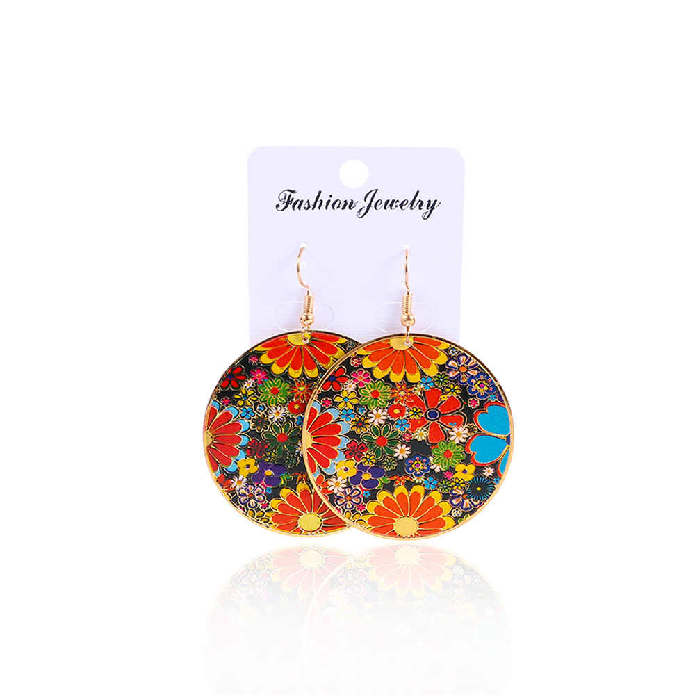 1 Pair Retro Bohemian Earrings Drop Earrings Carving Flower Ethnic Style Jewelry Round Big Earrings Jewelry For Women 2018