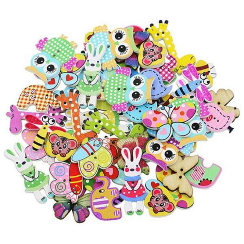 50pcs/pack Mixed Wooden Sewing Buttons for Handcrafts Scrapbooking Accessories Decorative Chic Animal Wooden buttons for crafts button